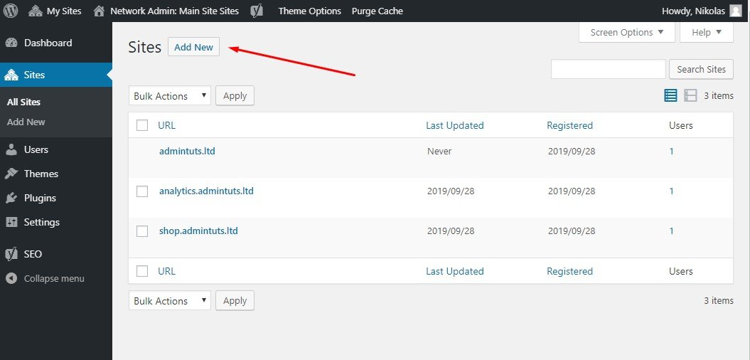 Adding New Sites To The WordPress Network