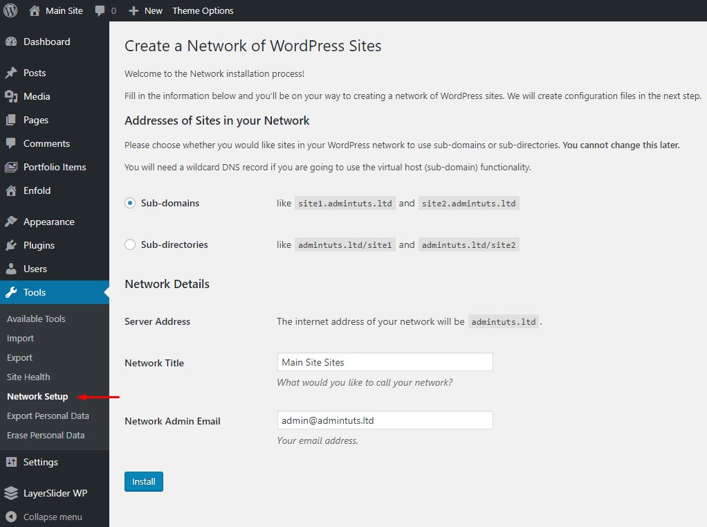 create a network of wordpress sites