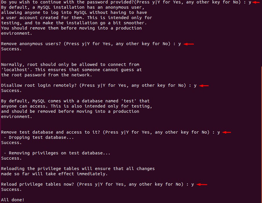 mysql installation remove test databases dissalow remote logins