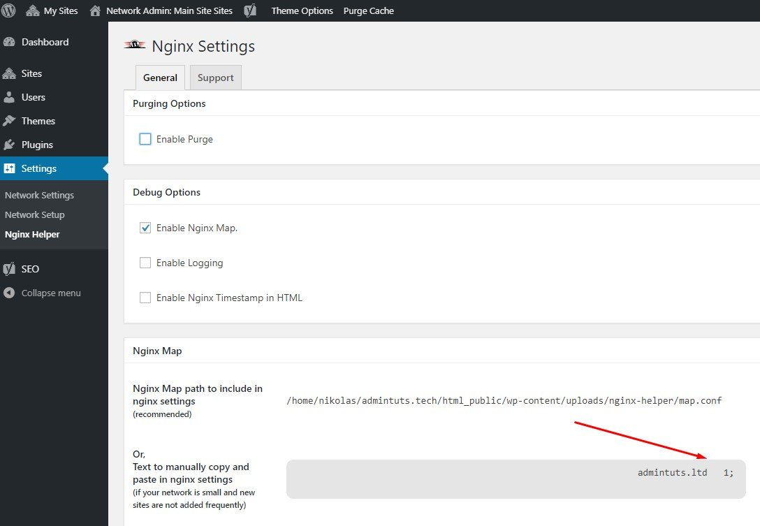 Nginx Map Multisite Settings